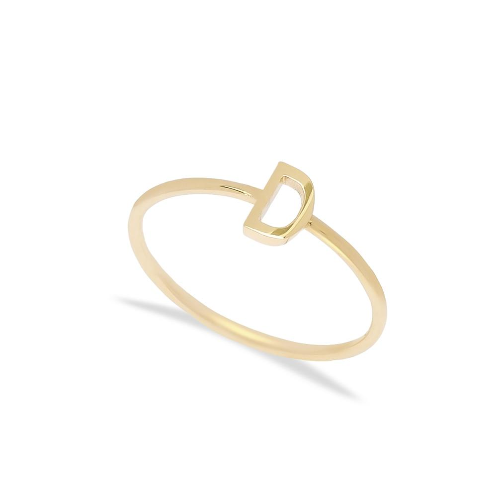D Letter Ring 14 k Wholesale Handmade Turkish Gold Jewelry