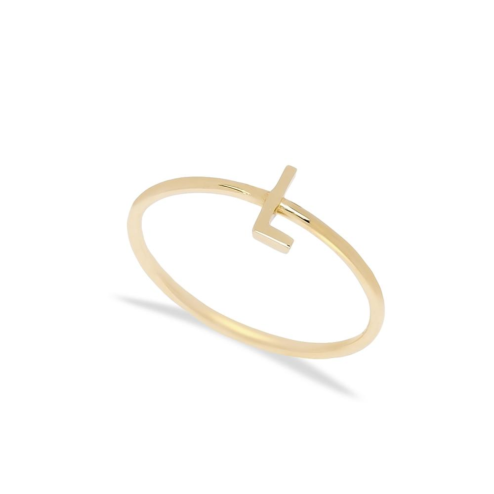 L Letter Ring 14 k Wholesale Handmade Turkish Gold Jewelry