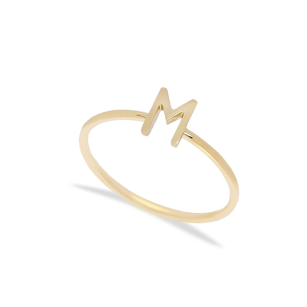 M Letter Ring 14 k Wholesale Handmade Turkish Gold Jewelry