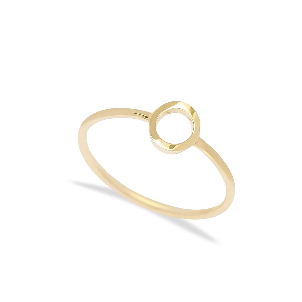 O Letter Ring 14 k Wholesale Handmade Turkish Gold Jewelry