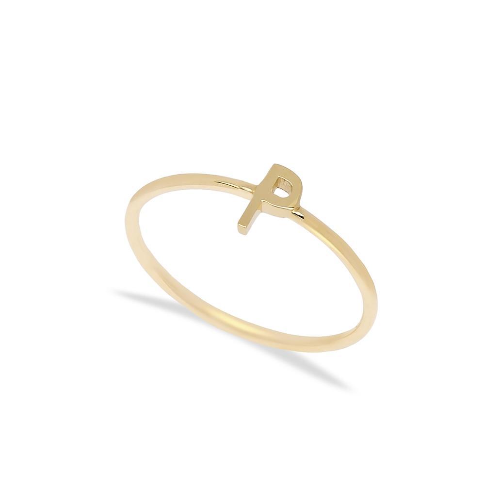 P Letter Ring 14 k Wholesale Handmade Turkish Gold Jewelry