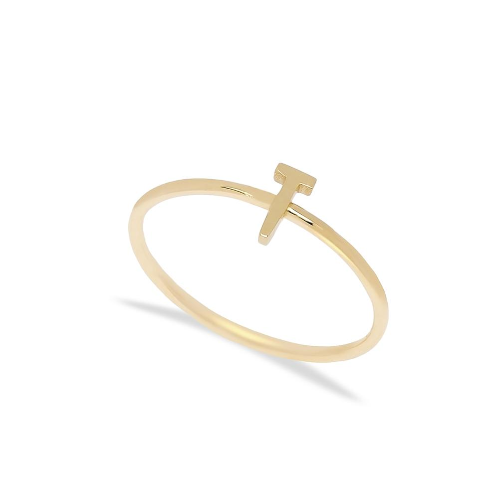 T Letter Ring 14 k Wholesale Handmade Turkish Gold Jewelry