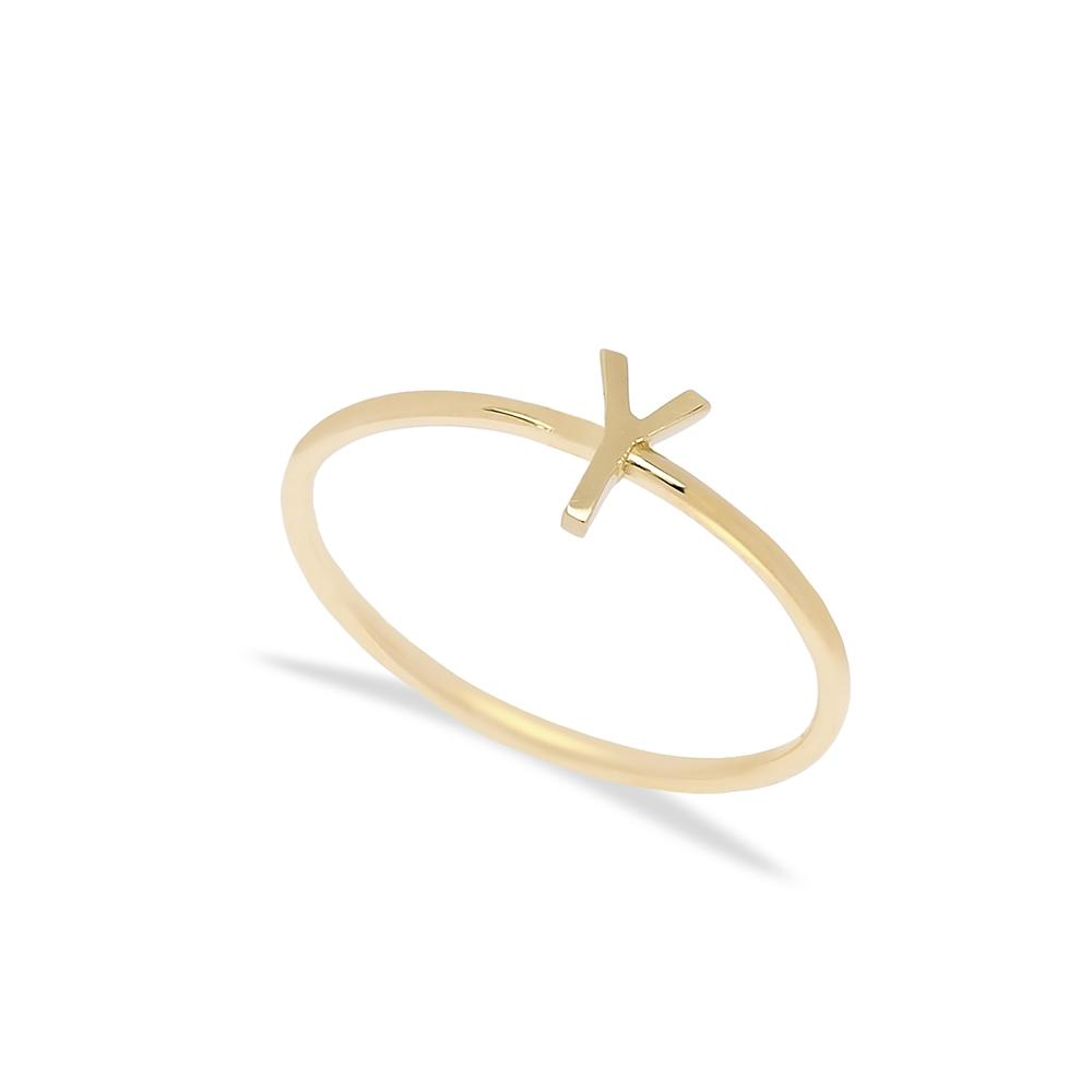 Y Letter Ring 14 k Wholesale Handmade Turkish Gold Jewelry