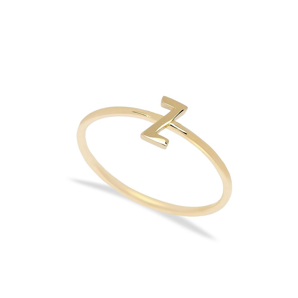 Z Letter Ring 14 k Wholesale Handmade Turkish Gold Jewelry