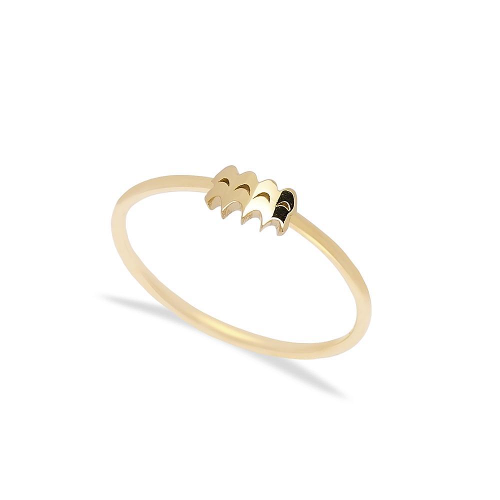 Aquarius Zodiac Ring 14 k Wholesale Handmade Turkish Gold Jewelry