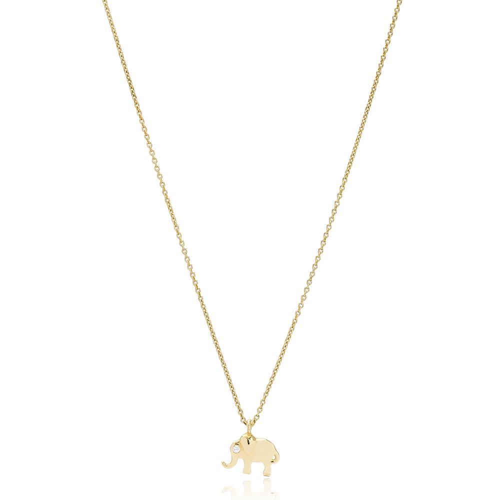 Minimal Elephant Design Turkish Wholesale 14k Gold Necklace
