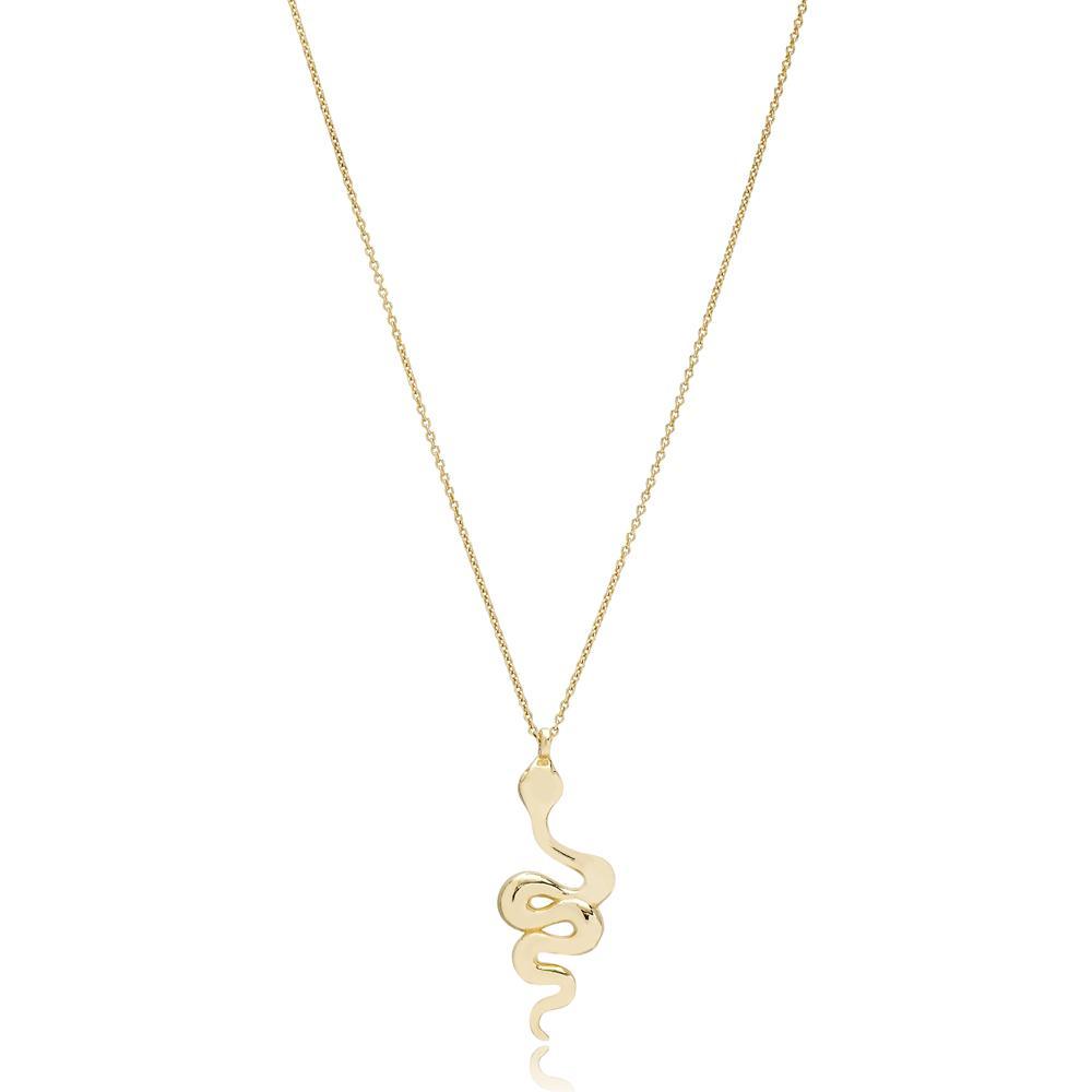 Snake Design Turkish Wholesale 14k Gold Necklace