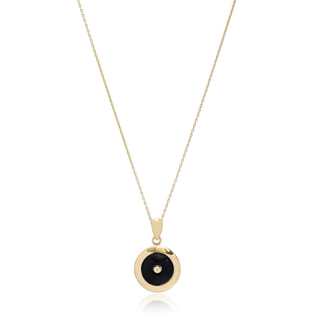 Enamel Round Charm Pendant Turkish Wholesale 14k Gold Jewelry