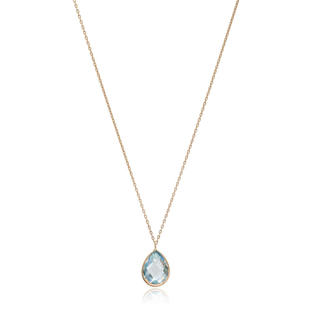 Drop Shape Aquamarine Stone Pendant Turkish Wholesale 14k Gold Jewelry