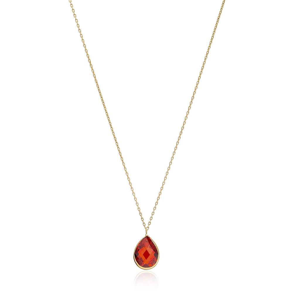 Drop Shape Garnet Stone Pendant Turkish Wholesale 14k Gold Jewelry