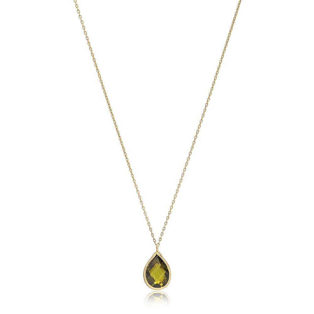 Drop Shape Peridot Stone Pendant Turkish Wholesale 14k Gold Jewelry