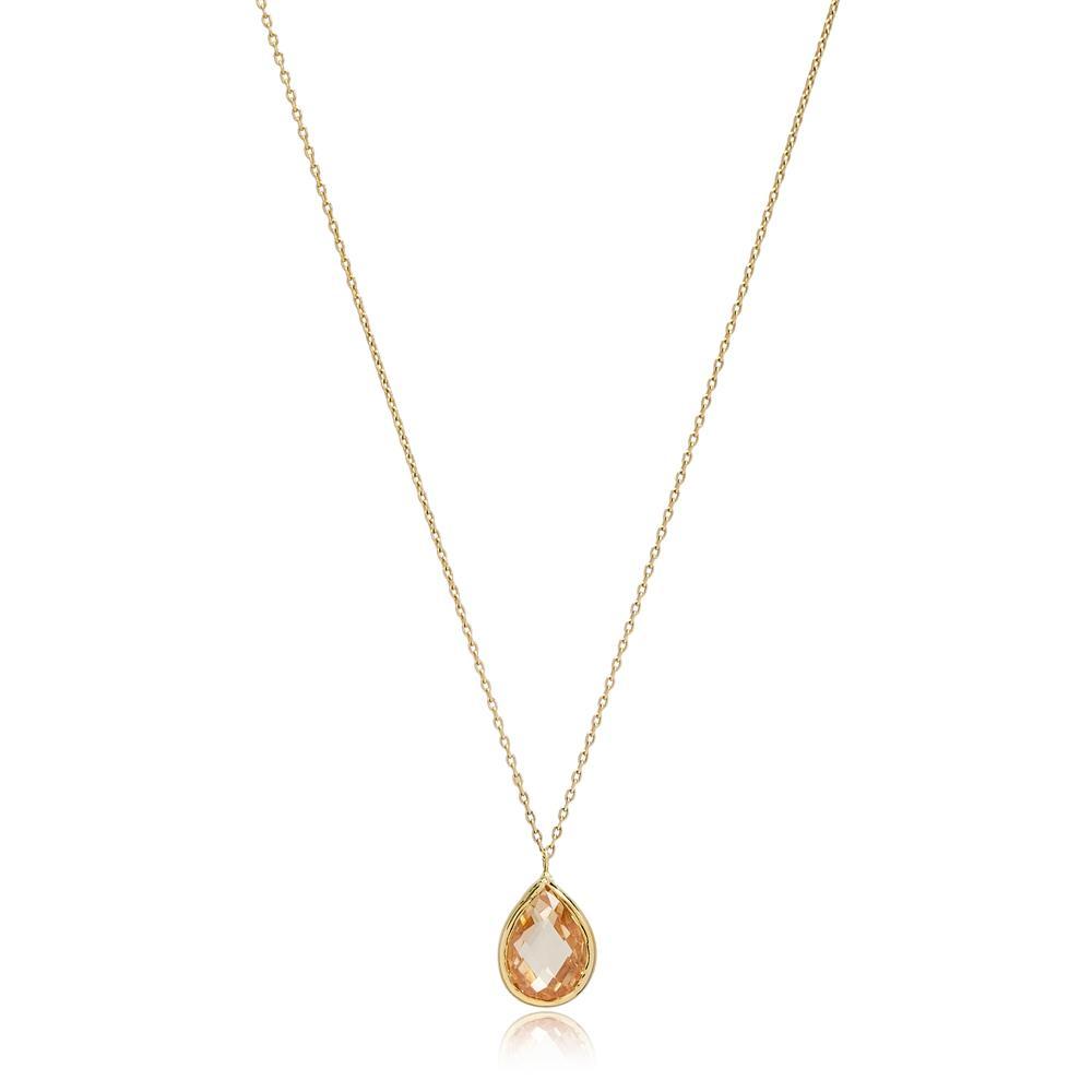 Drop Shape Citrine Stone Pendant Turkish Wholesale 14k Gold Jewelry