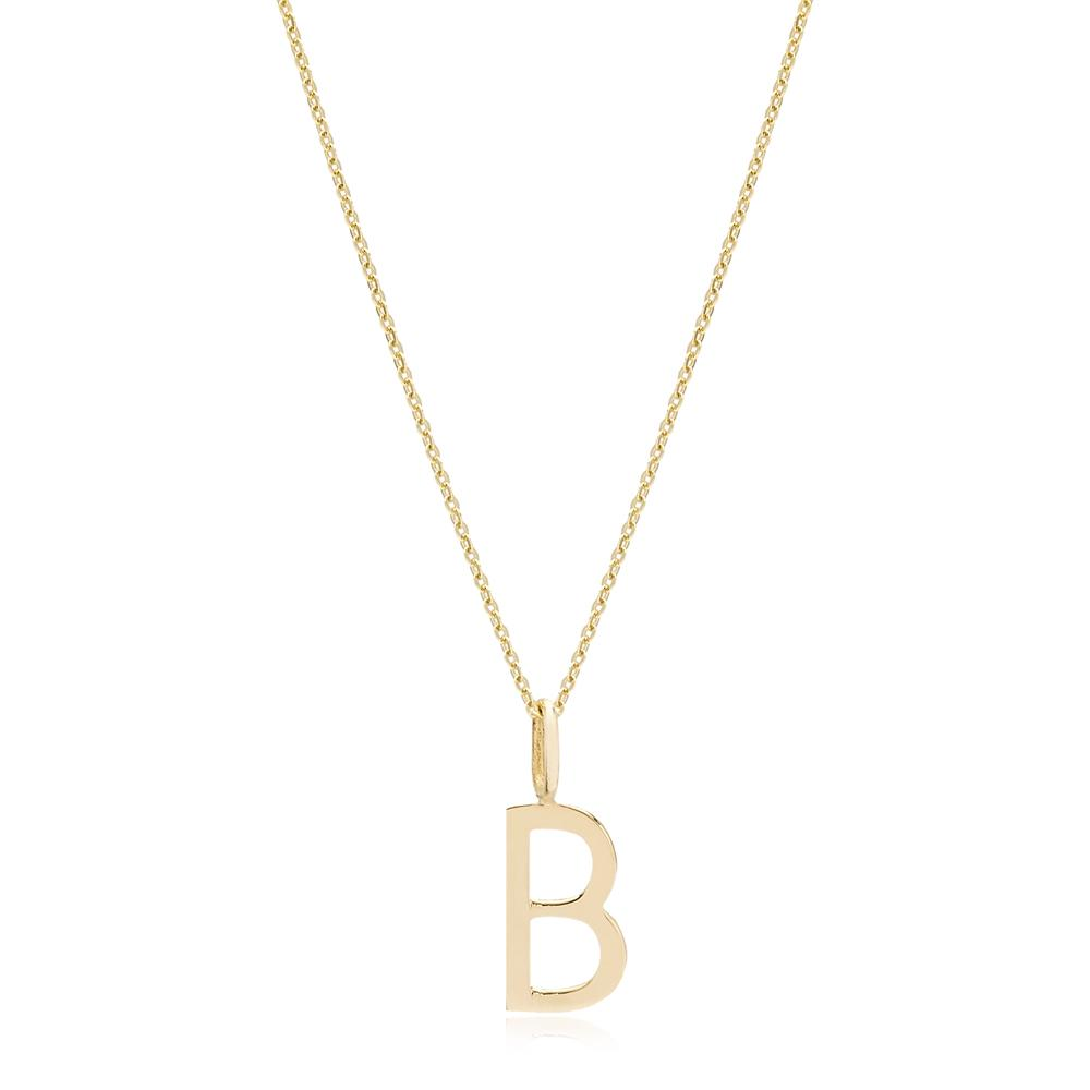 B Letter Pendant Turkish Wholesale 14k Gold Jewelry
