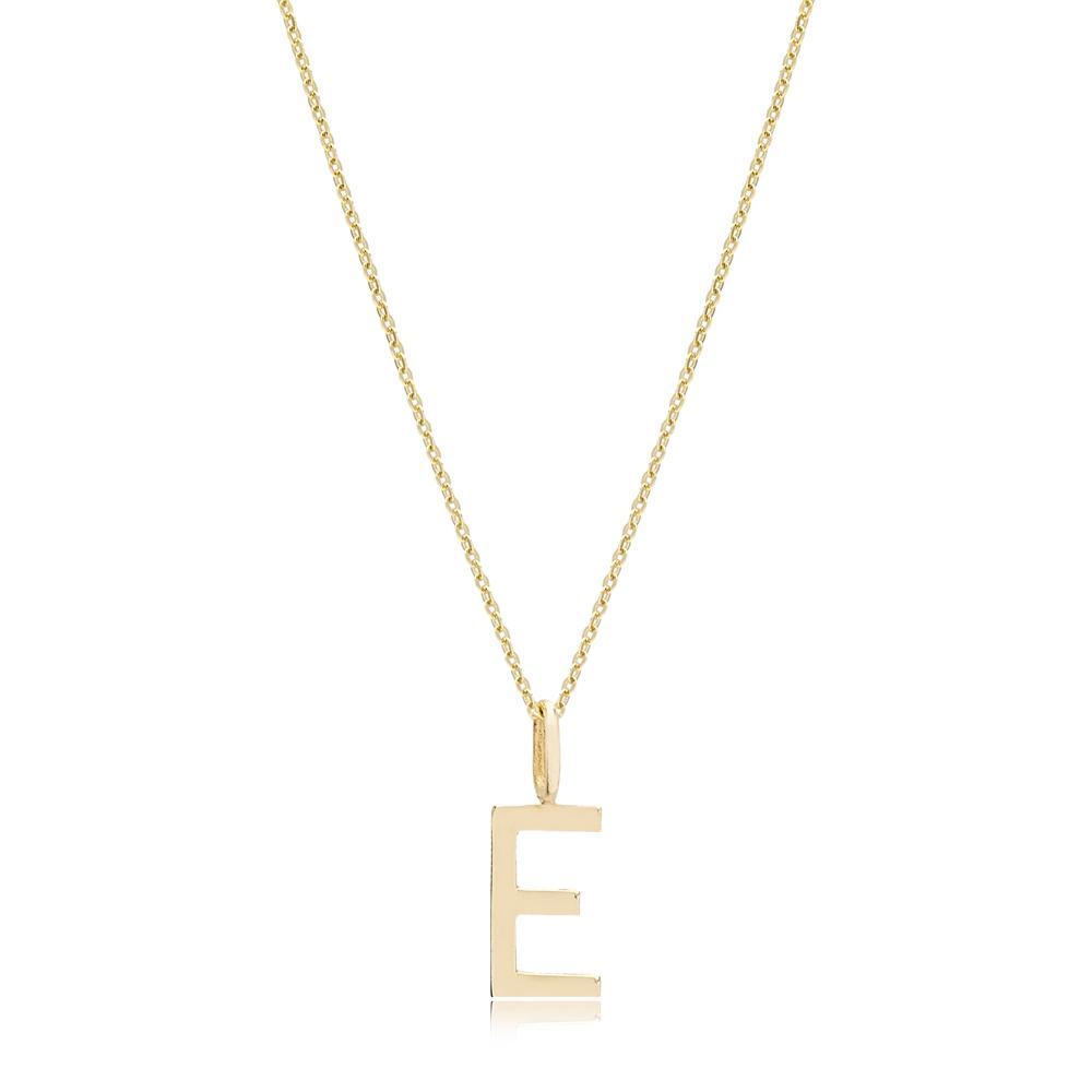E Letter Pendant Turkish Wholesale 14k Gold Jewelry
