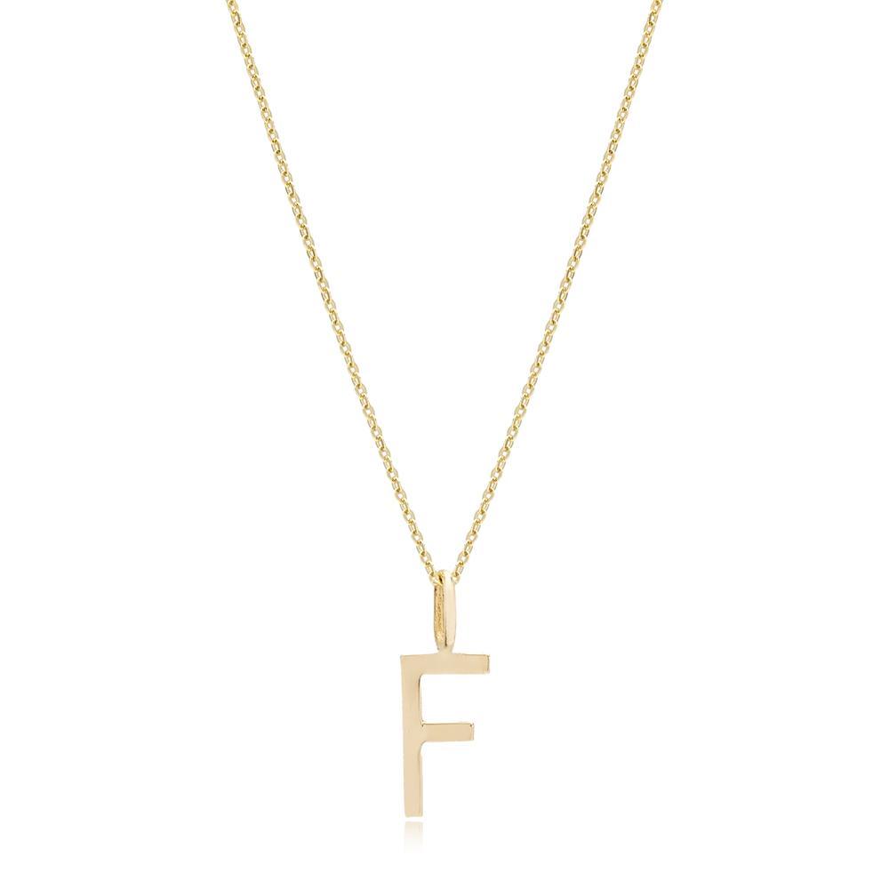F Letter Pendant Turkish Wholesale 14k Gold Jewelry