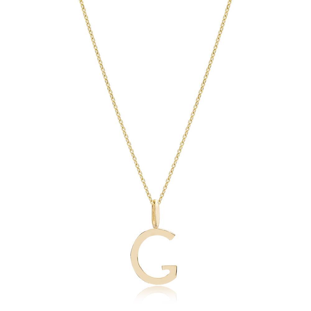 G Letter Pendant Turkish Wholesale 14k Gold Jewelry