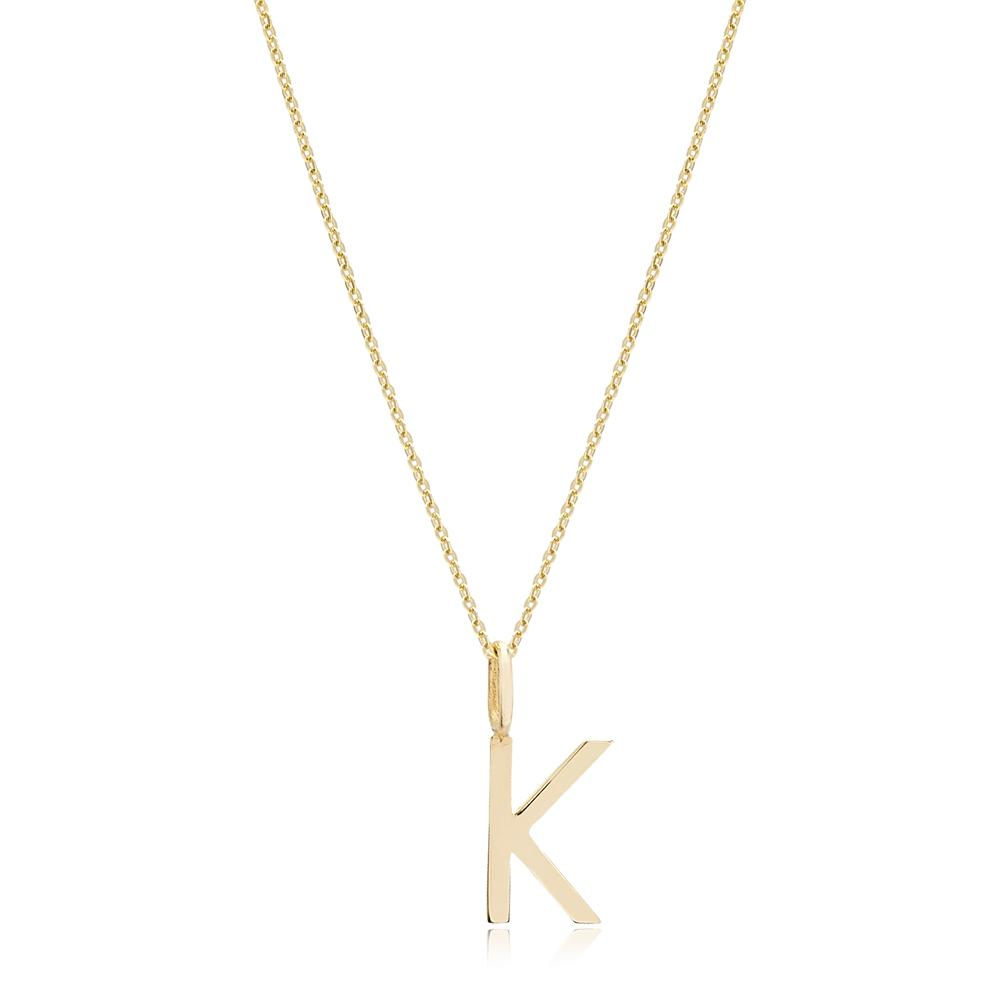 K Letter Pendant Turkish Wholesale 14k Gold Jewelry
