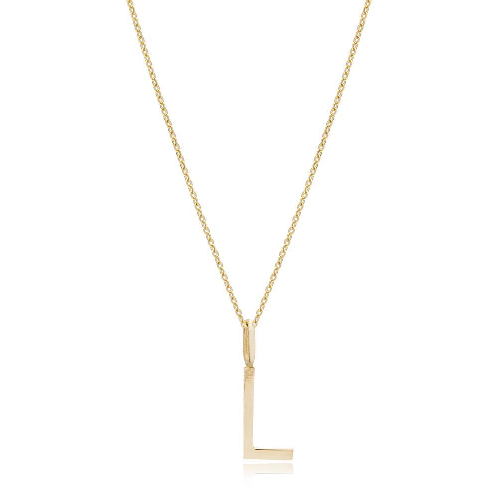 L Letter Pendant Turkish Wholesale 14k Gold Jewelry