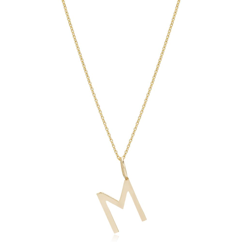 M Letter Pendant Turkish Wholesale 14k Gold Jewelry