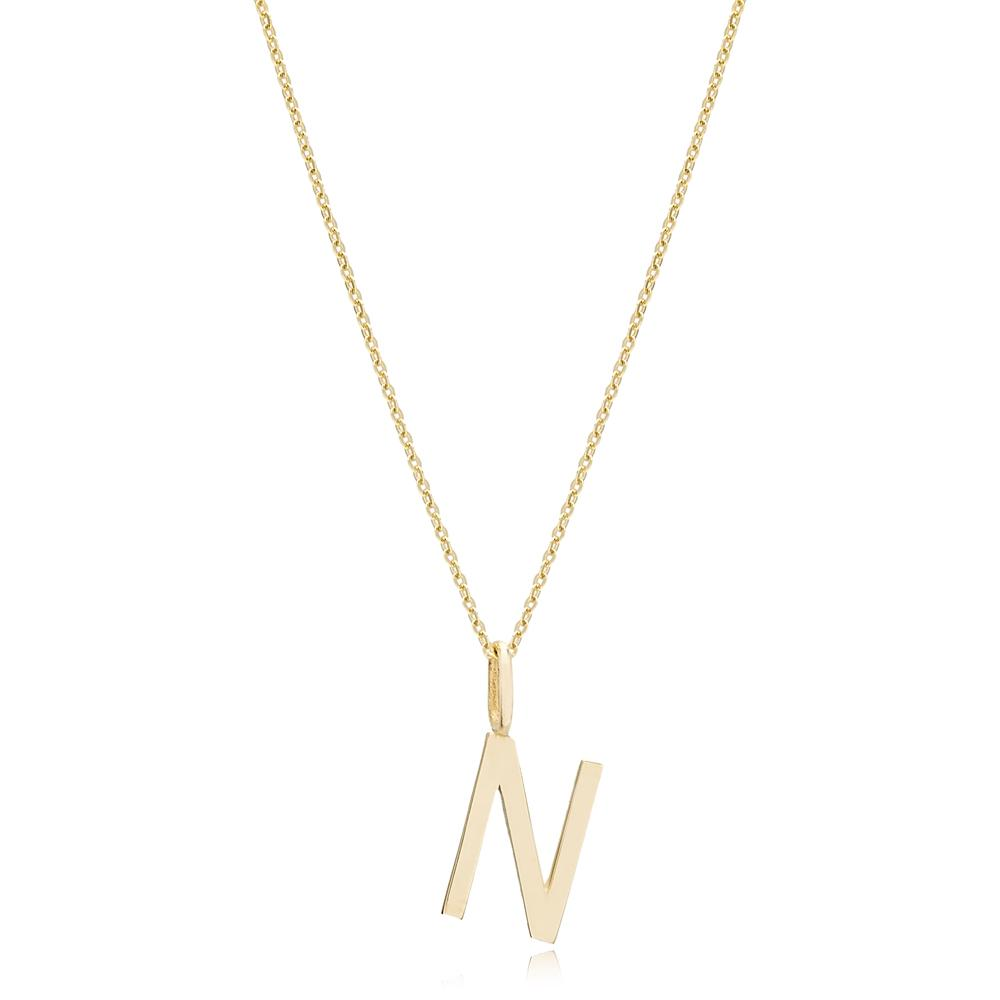 N Letter Pendant Turkish Wholesale 14k Gold Jewelry