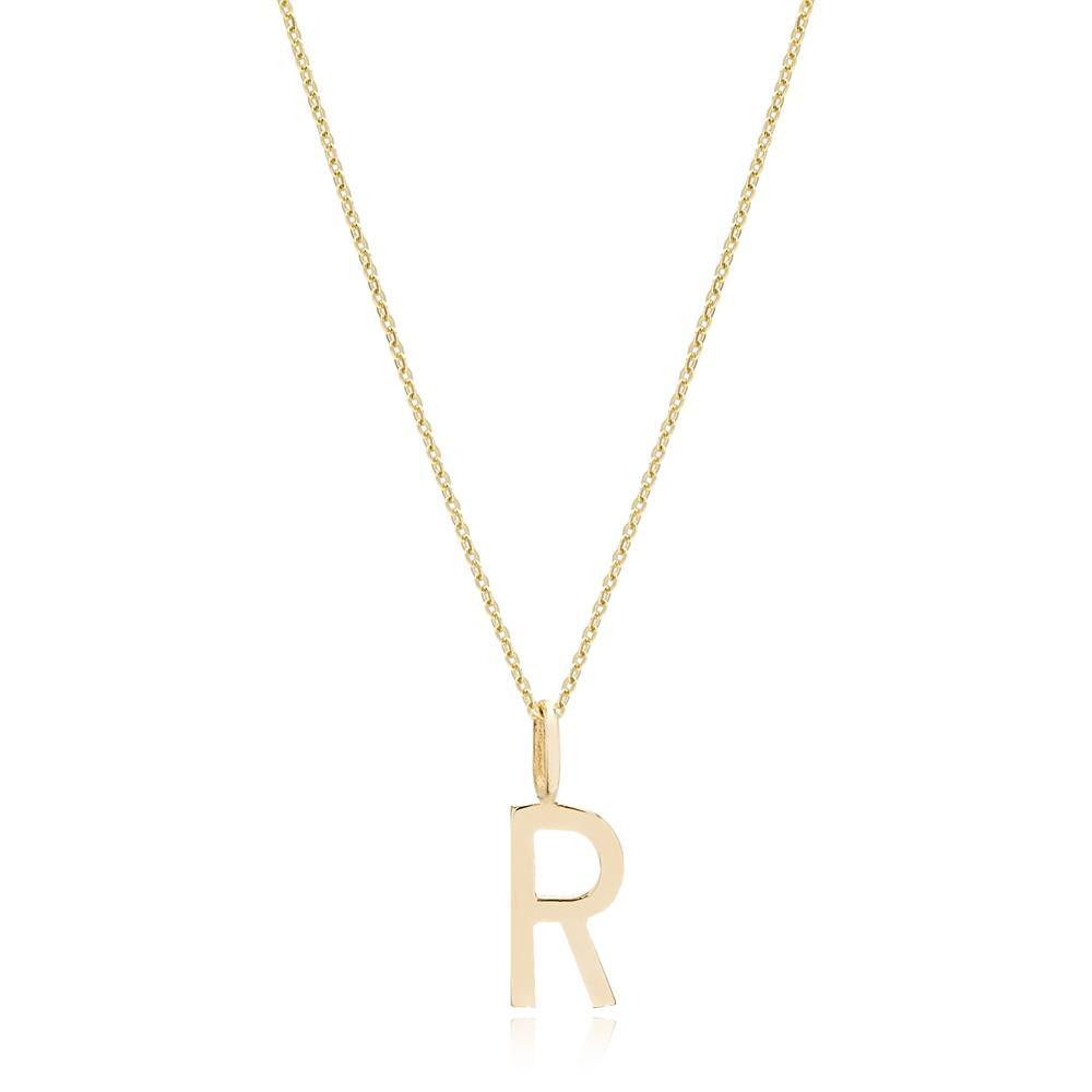 R Letter Pendant Turkish Wholesale 14k Gold Jewelry