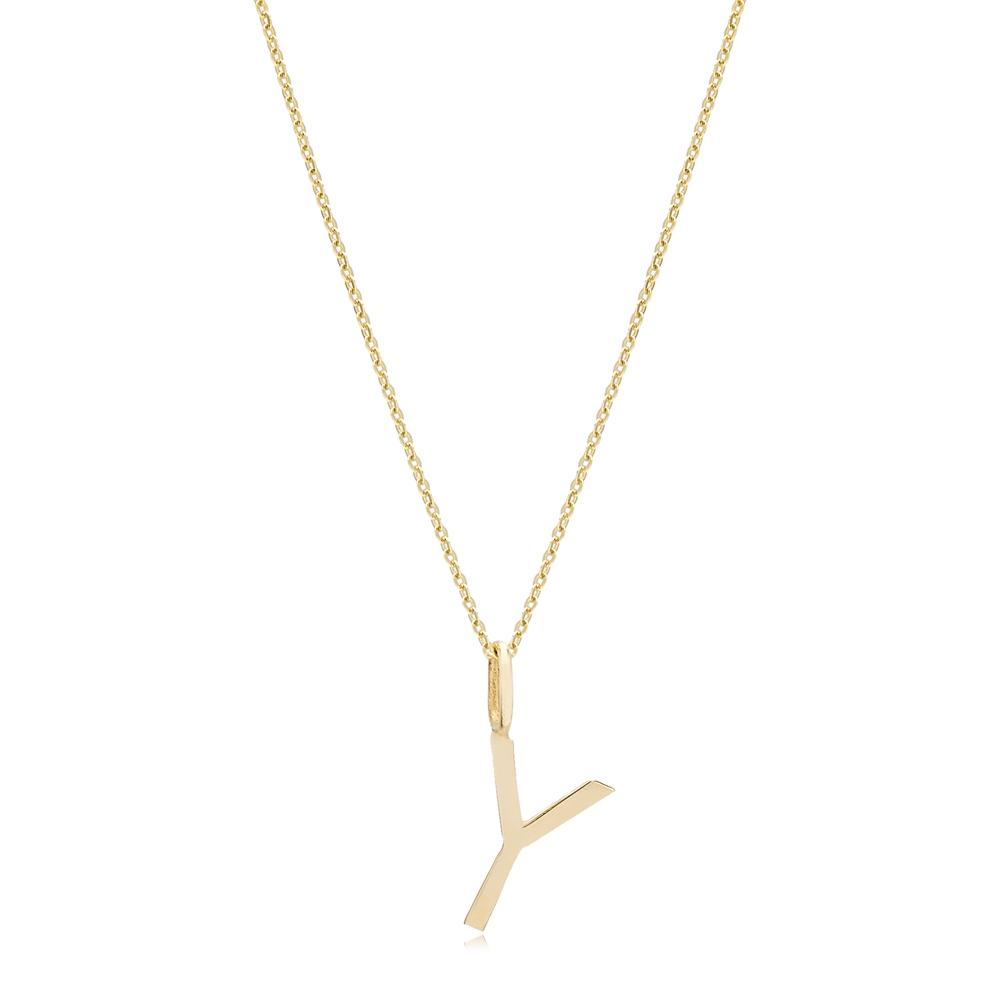 Y Letter Pendant Turkish Wholesale 14k Gold Jewelry
