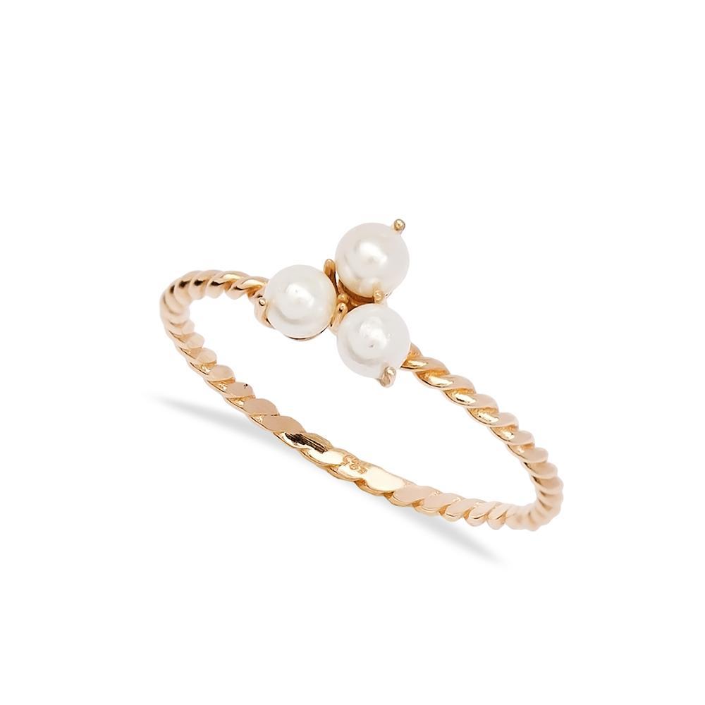 Triple Minimal Pearl Ring 14 k Wholesale Handmade Turkish Gold Jewelry
