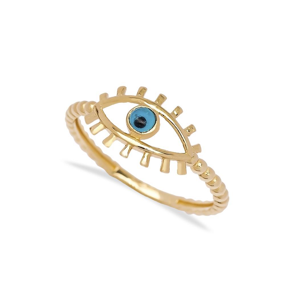 Evil Eye Ring 14 k Wholesale Handmade Turkish Gold Jewelry