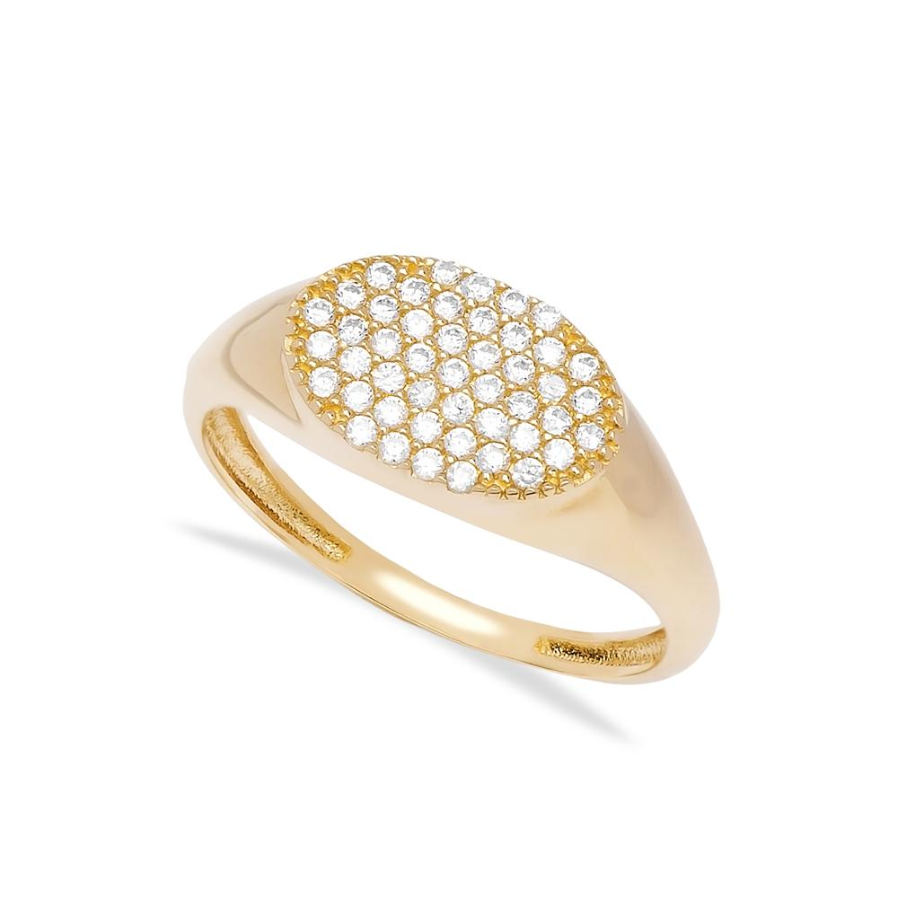 Zircon Bar Ring 14 k Wholesale Handmade Turkish Gold Jewelry