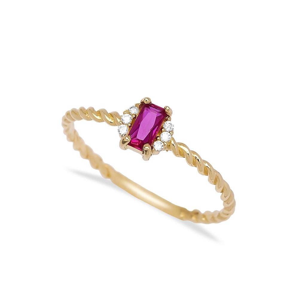 Ruby Baguette Cut Stone Ring 14 k Wholesale Handmade Turkish Gold Jewelry