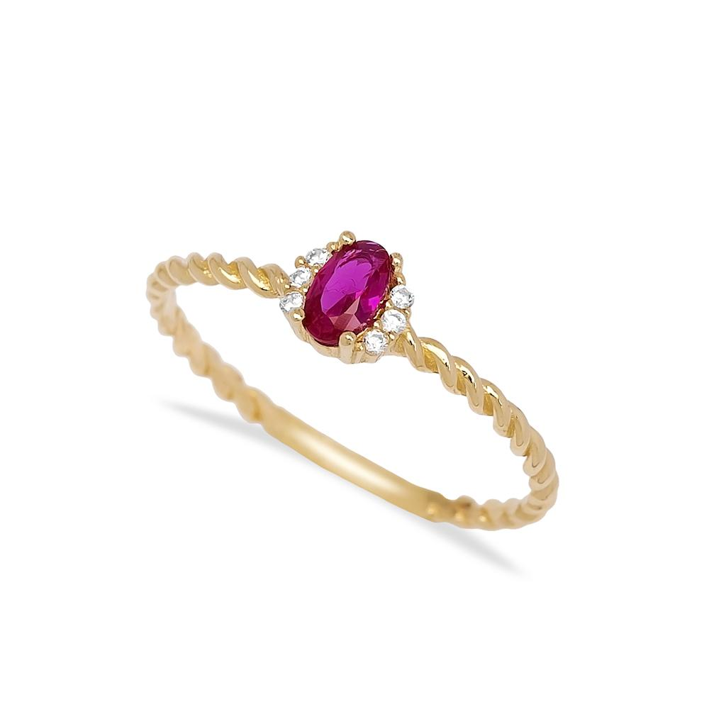 Ruby Stone Oval Shape Ring 14 k Wholesale Handmade Turkish Gold Jewelry