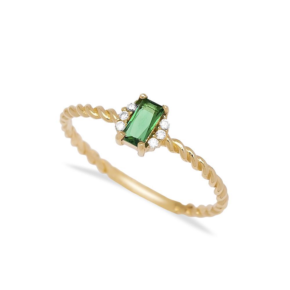 Emerald Baguette Cut Stone Ring 14 k Wholesale Handmade Turkish Gold Jewelry