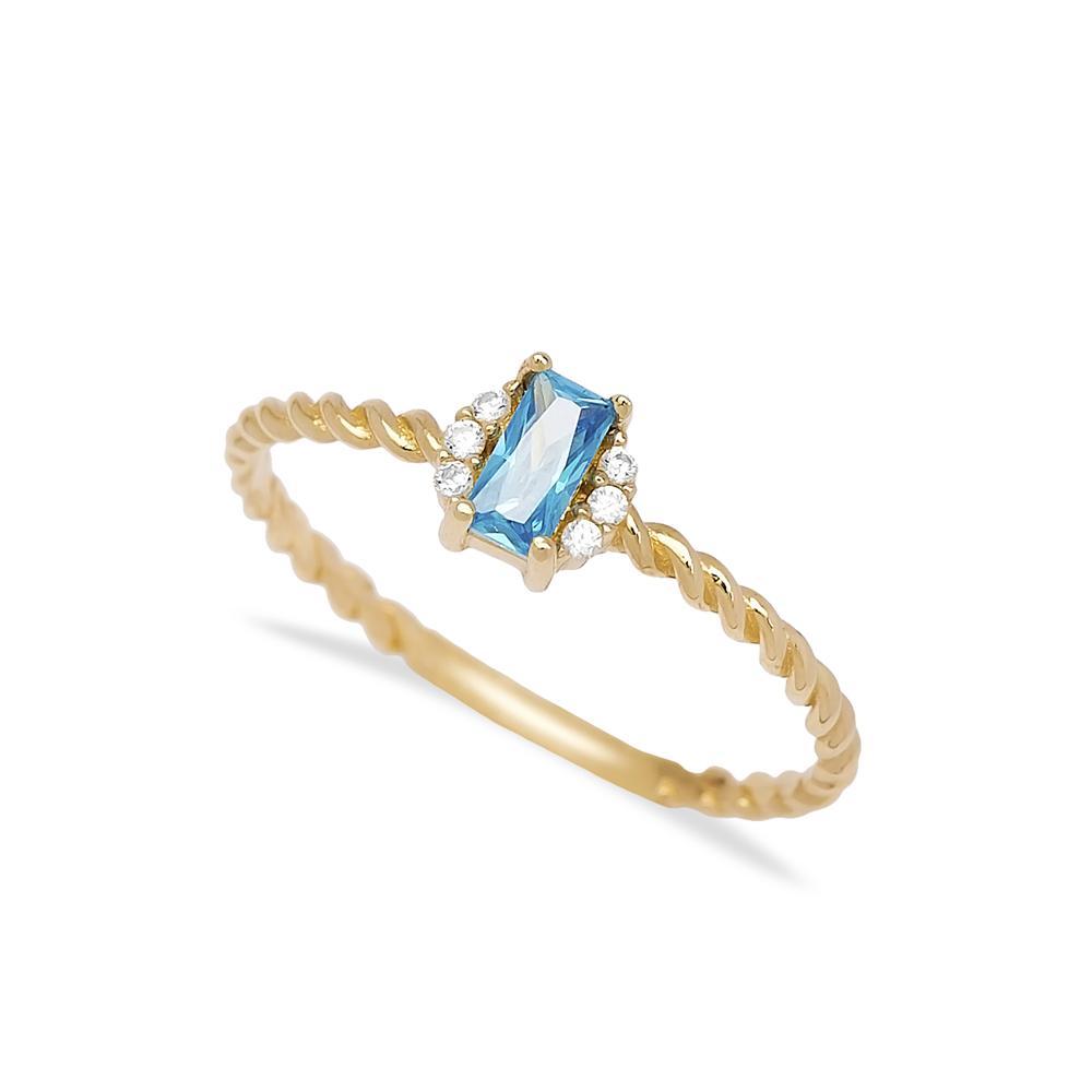 Aquamarine Baguette Cut Stone Ring 14 k Wholesale Handmade Turkish Gold Jewelry