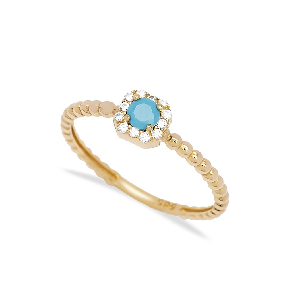 Solitaire Turquoise Stone Ring 14 k Wholesale Handmade Turkish Gold Jewelry