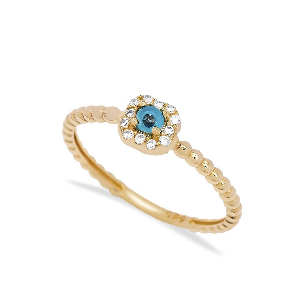 Solitaire Evil Eye Stone Ring 14 k Wholesale Handmade Turkish Gold Jewelry