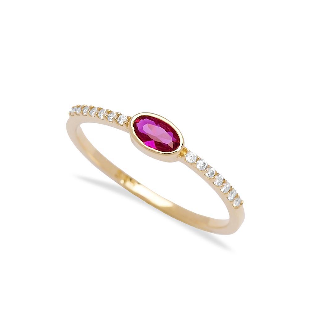 Minimal Ruby Stone 14k Gold Ring Wholesale Handmade Turkish Gold Jewelry