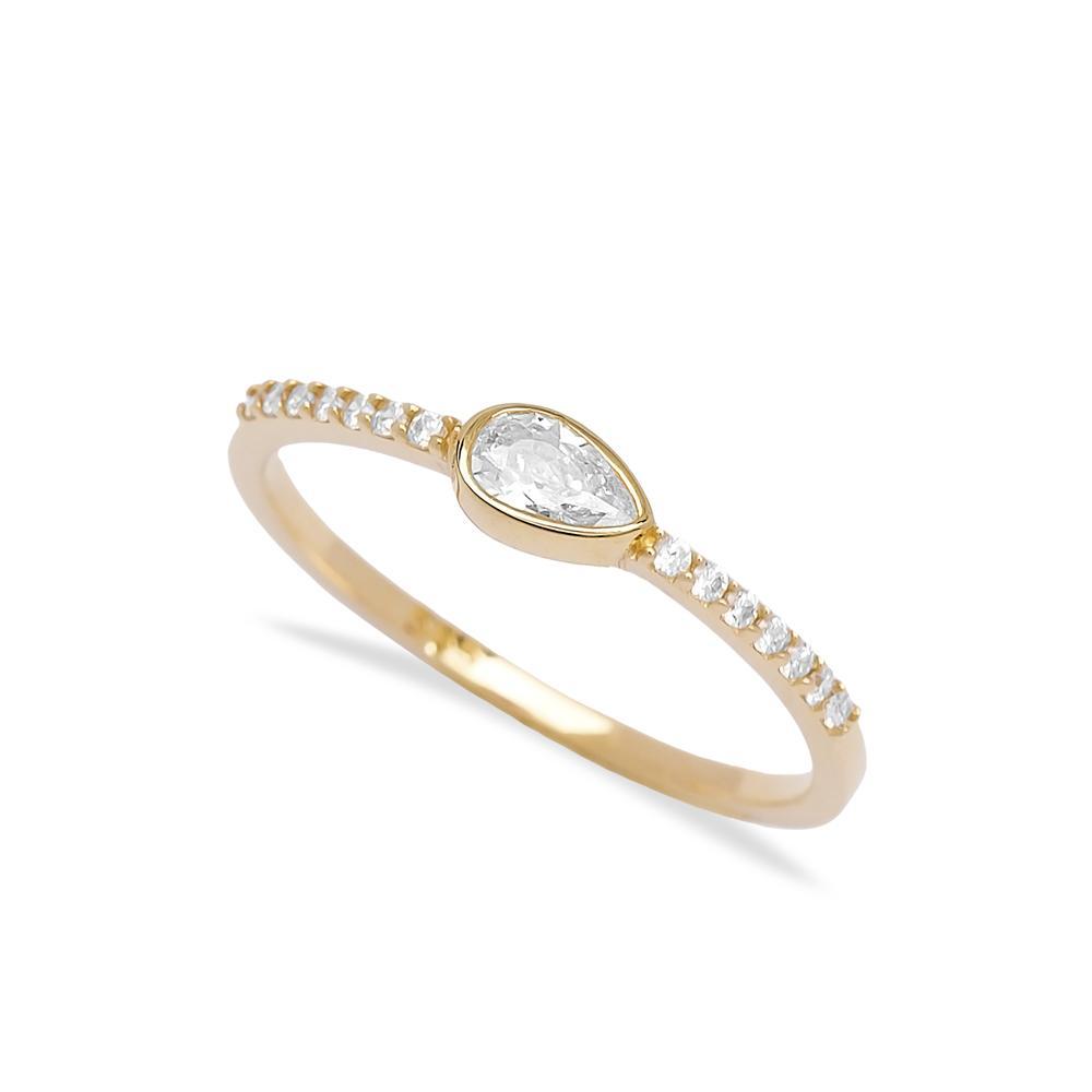 Minimal Teardrop Design Stone 14k Gold Ring Wholesale Handmade Turkish Gold Jewelry