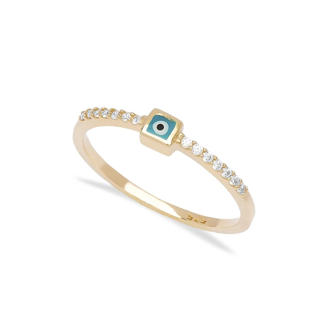 Enamel Evil Eye 14k Gold Ring Wholesale Handmade Turkish Gold Jewelry