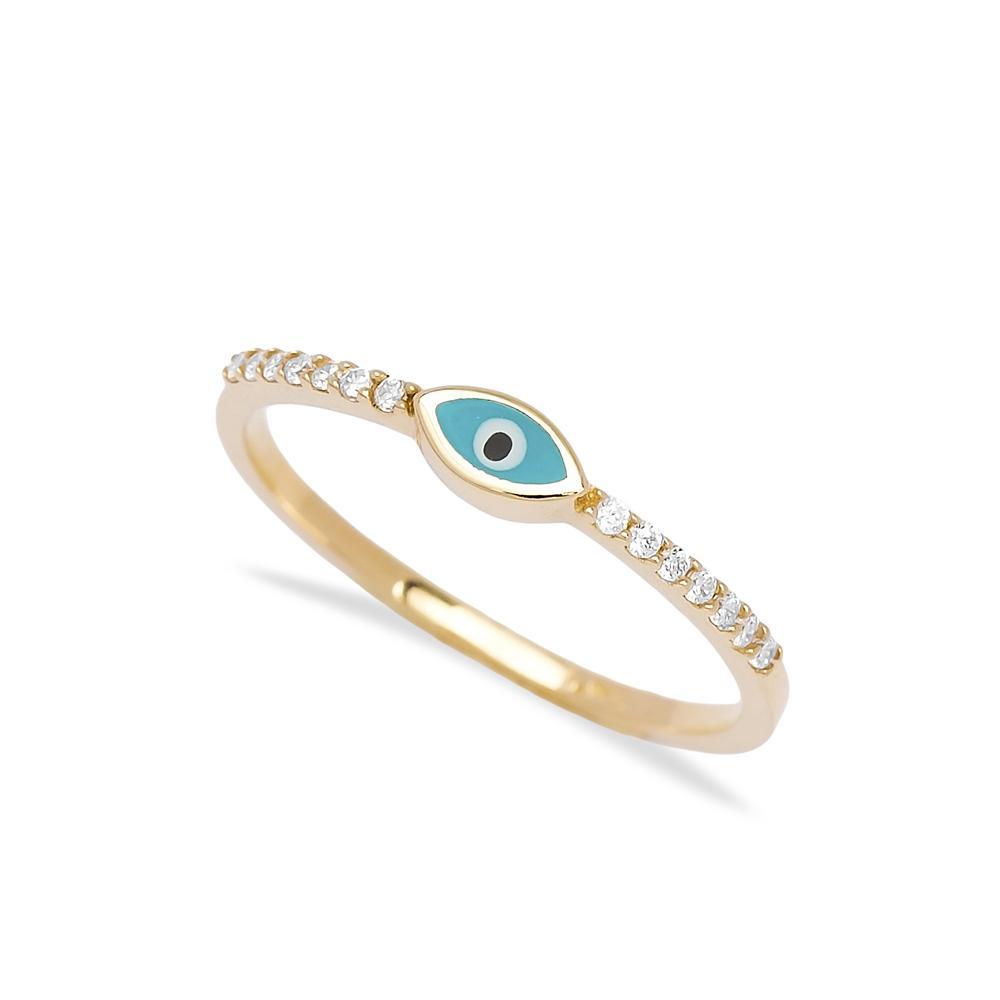 Minimal Enamel Evil Eye 14k Gold Ring Wholesale Handmade Turkish Gold Jewelry
