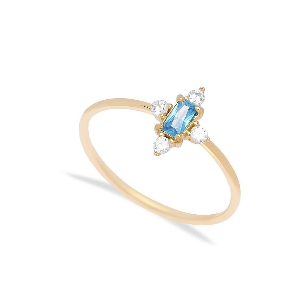 14k Gold Aquamarine Baguette Cut Stone Ring Wholesale Handmade Turkish Jewelry