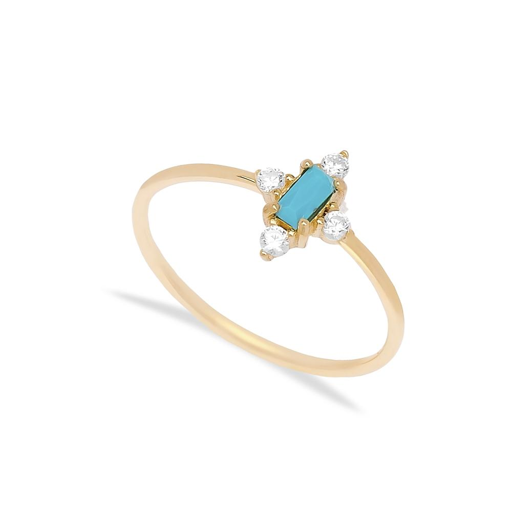 14k Solid Gold Turquoise Stone Ring Wholesale Handmade Turkish Gold Jewelry