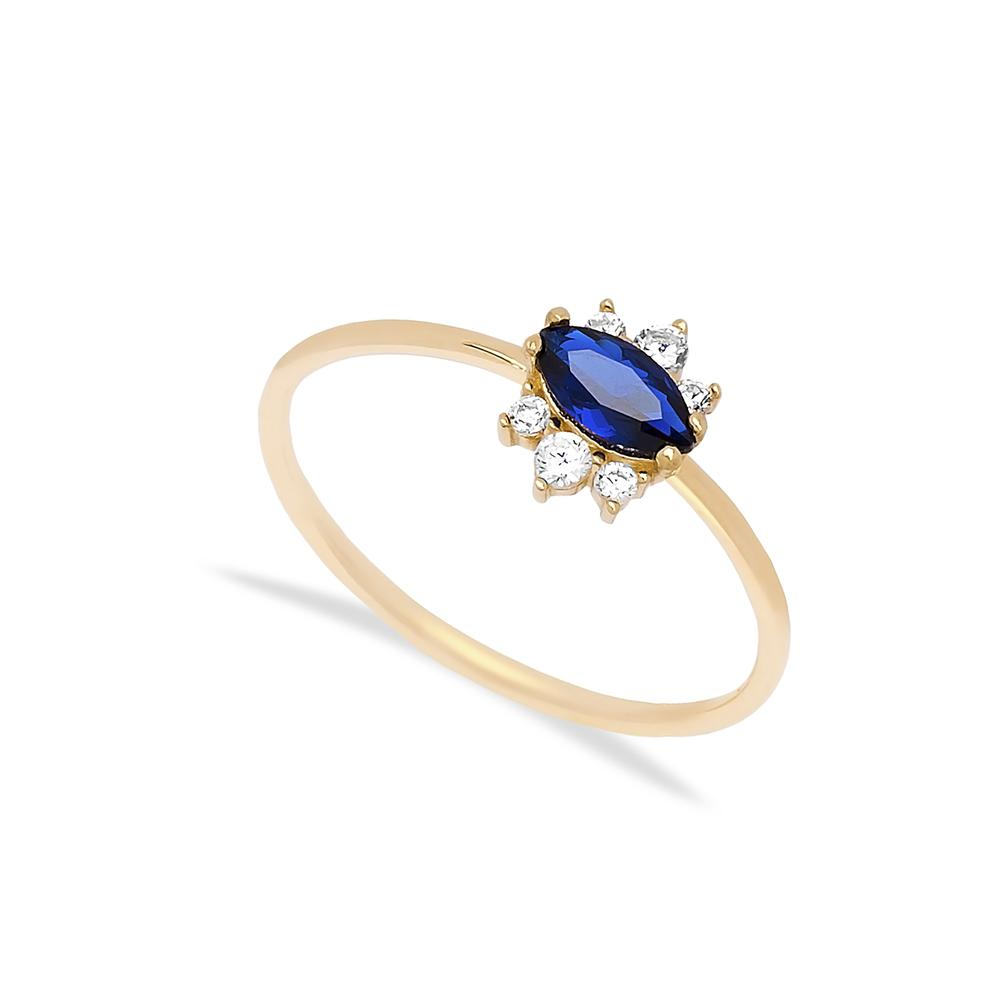 14k Solid Gold Oval Sapphire Stone Ring Wholesale Handmade Turkish Gold Jewelry
