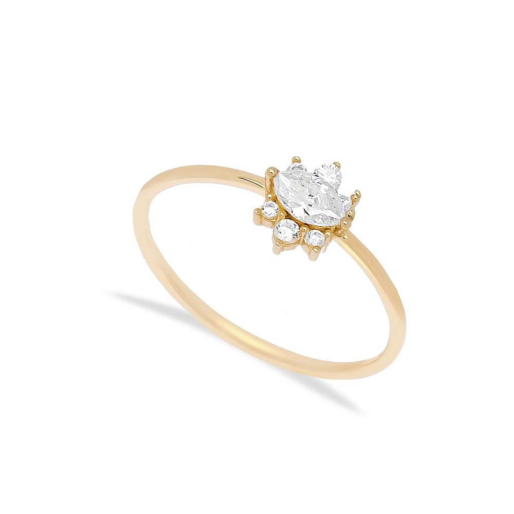 14k Solid Gold Oval Zircon Stone Ring Wholesale Handmade Turkish Gold Jewelry