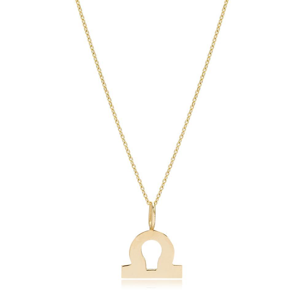 14K Gold Libra Zodiac Pendant Turkish Wholesale Gold Jewelry