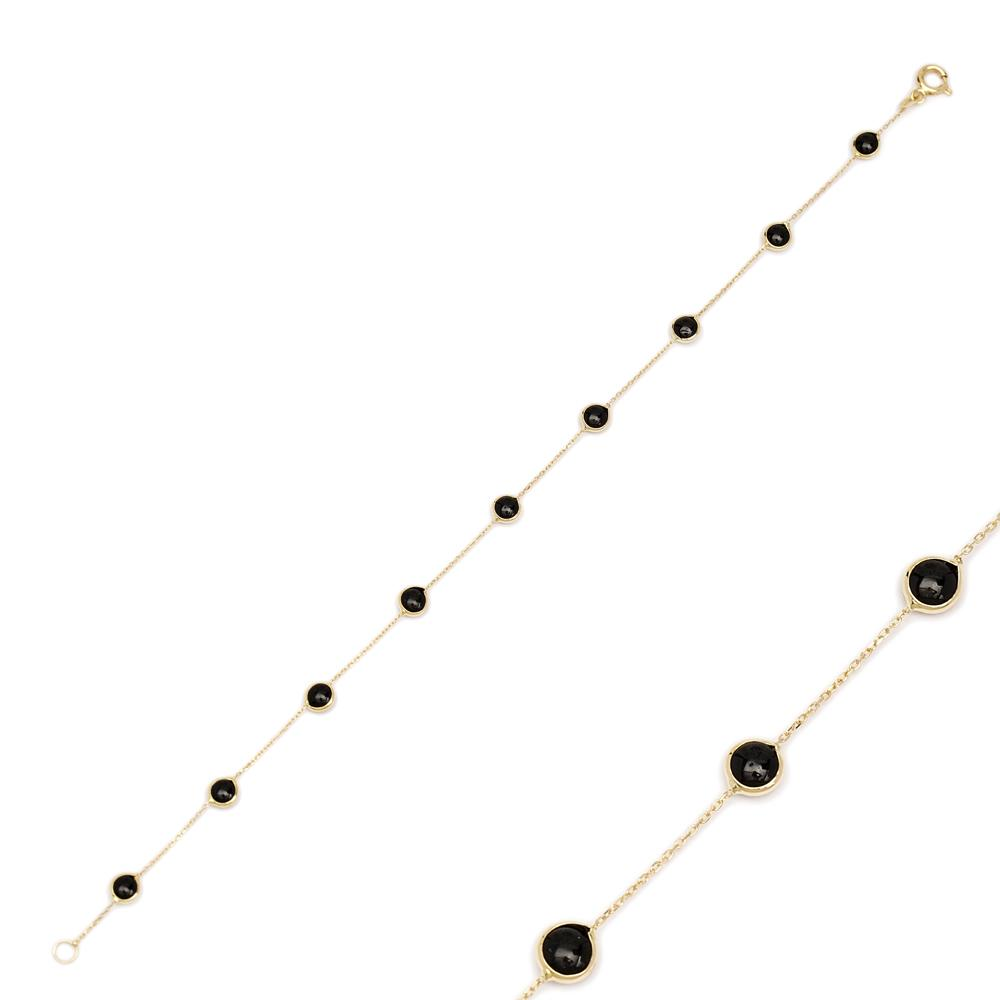 14K Gold Onyx Stone Bracelet Wholesale Handmade Turkish Jewelry