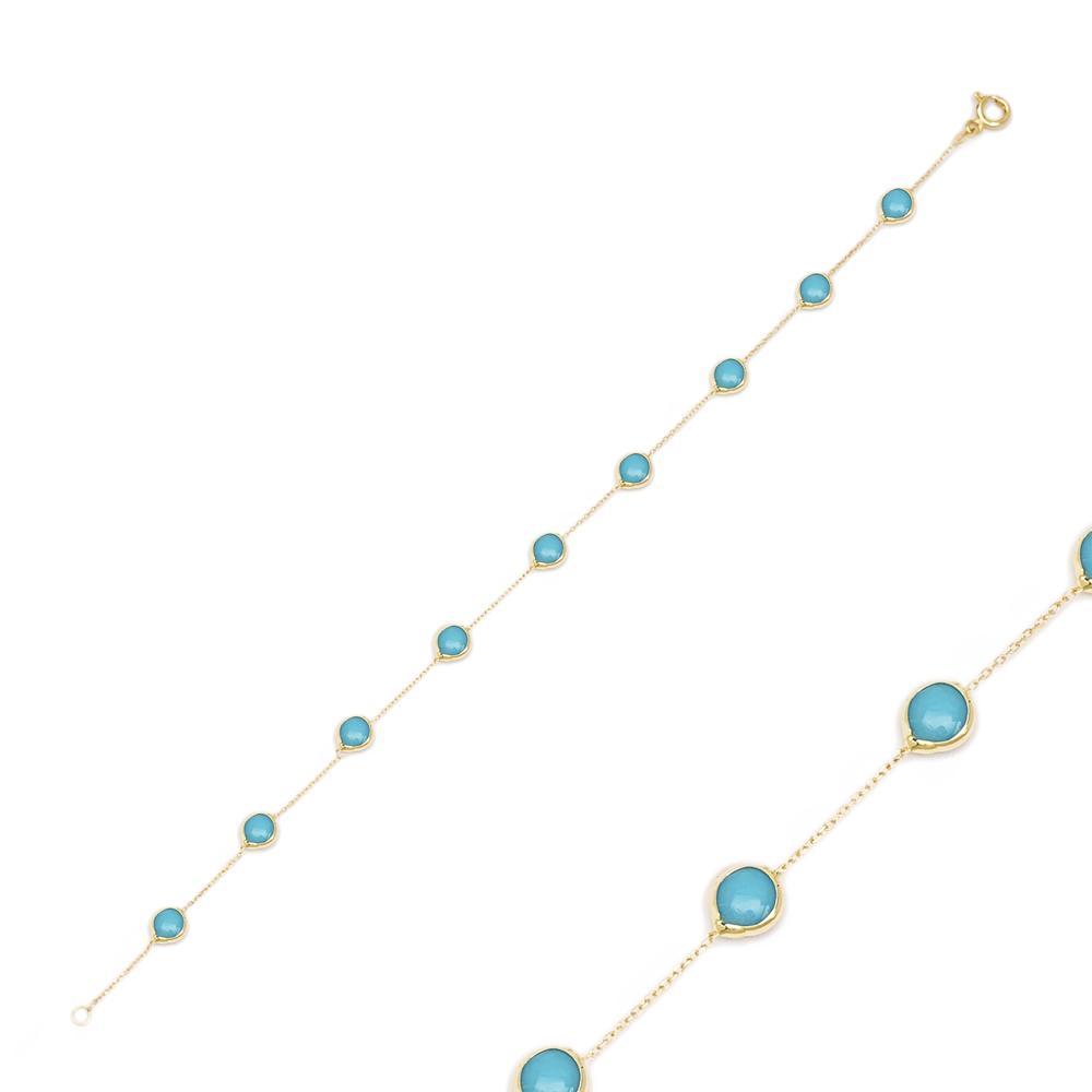 14K Gold Turquoise Stone Bracelet Wholesale Handmade Turkish Jewelry