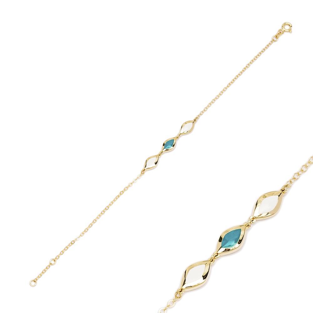 14K Gold Almond Shape Bracelet Wholesale Handmade Turkish Jewelry