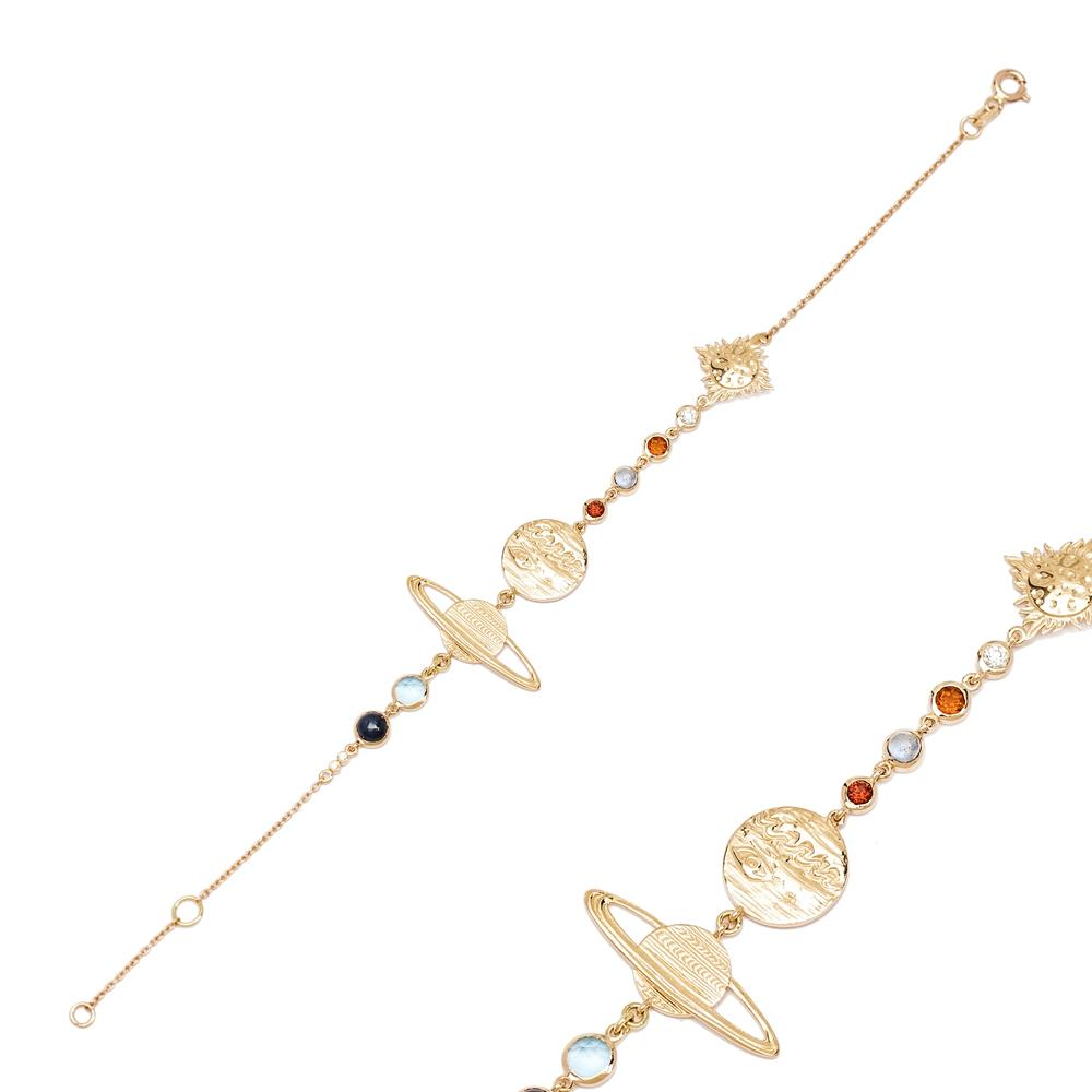 14K Gold Galaxy Design Bracelet Wholesale Handmade Turkish Jewelry