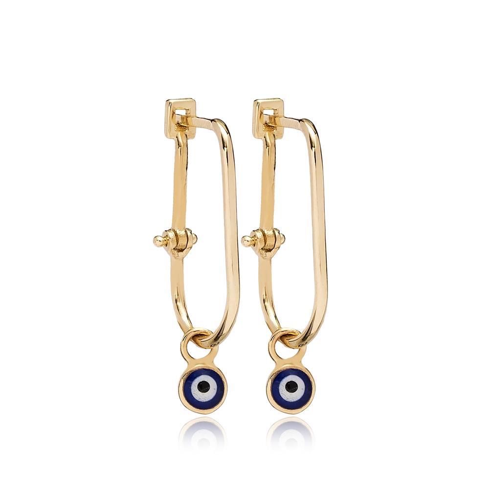 14 K Gold Evil Eye Design Dangle Earring Wholesale Turkish Gold Earring