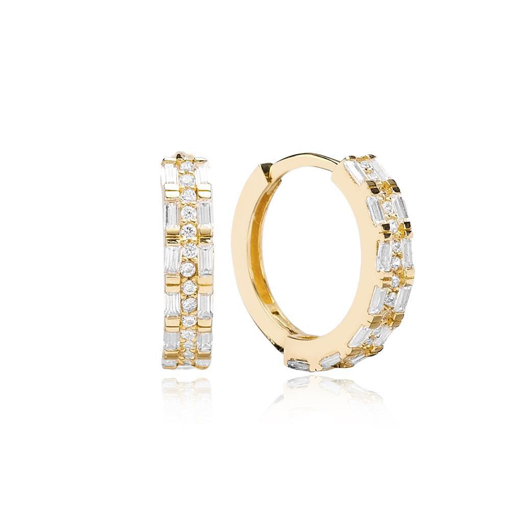 14 K Gold Baguette Stone Hoop Earrings Wholesale Turkish Gold Earring